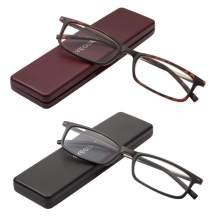 EYEGUARD Reading Glasses with Portable Case Slim Mini Pocket Readers for Women Men Eye Glasses