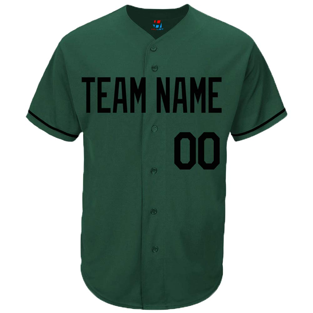 Pullonsy Hunter Green Custom Baseball Jersey for Men Women Youth Full Button Sewn Team Name & Numbers S-8XL - Design Your Own