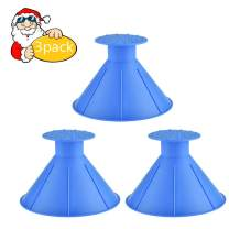 Risunpet Ice Scraper Funnel Round Windshield,Magic Car Cone-Shaped Car Windshield Ice Scraper,Snow Removal Shovel Tool (3pack Blue)