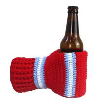 Beer Mitten Gloves, Knit Stitched Drink Mitt Holder for White Elephant Gag Gift Tailgating Idea