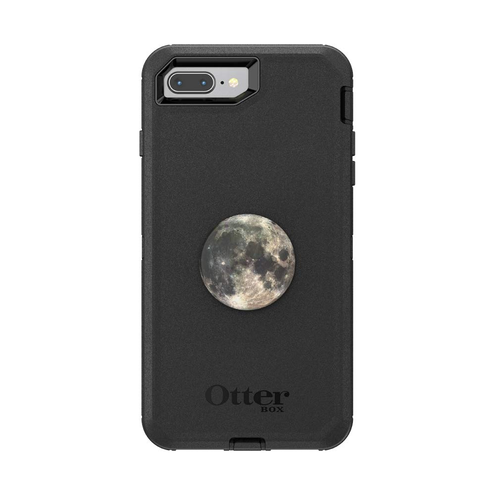 Otter + Pop for iPhone 7+ and 8+: OtterBox Defender Series Case with PopSockets Swappable PopTop - Black and Moon