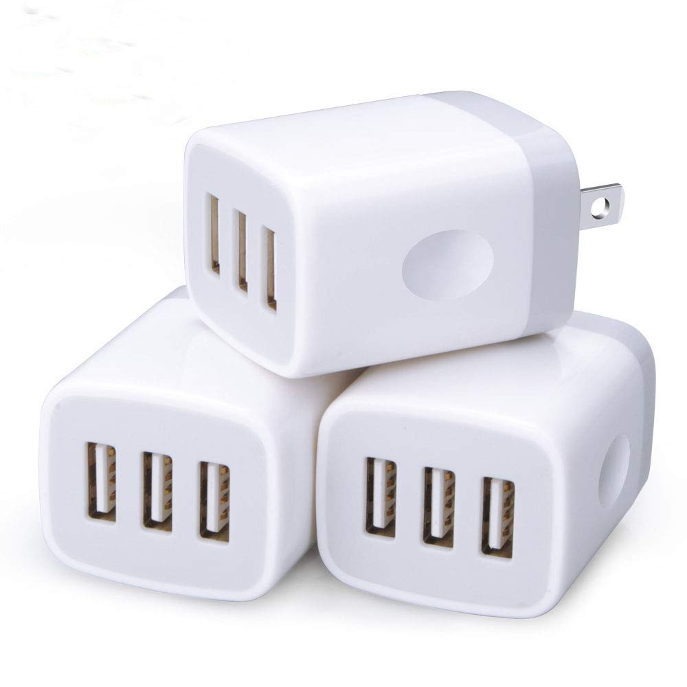 USB Wall Charger,3 Pack Sicodo 3-Multiple Port USB Travel Wall Charger 5V 3.1A Output Portable Wall Charger Plug Power Adapter Compatible with iPhone X/8/7,iPad,Samsung Phones and More