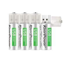 KeenPower AA Batteries USB Rechargeable Double A Lithium Batteries Li-ion Battery Cell 1.5V / 1200mAH Not NI-MH/NI-CD/Alkaline Batteries ECO-Friendly and Recyclable No Memory Effect(4Pack)