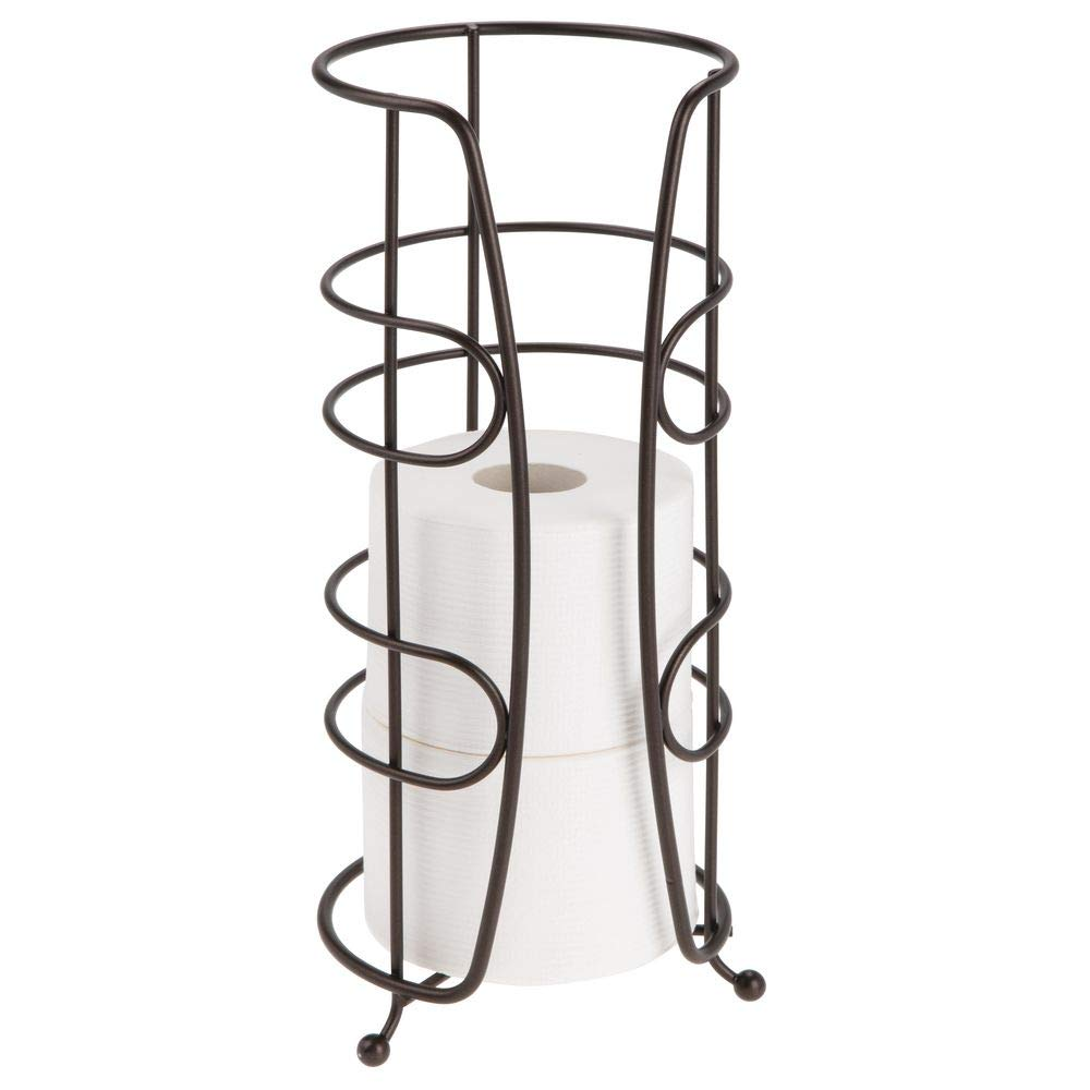 mDesign Decorative Metal Free-Standing Toilet Paper Holder Stand with Storage for 4 Rolls of Extra Toilet Tissue - for Bathroom/Powder Room - Holds Mega Rolls - Bronze