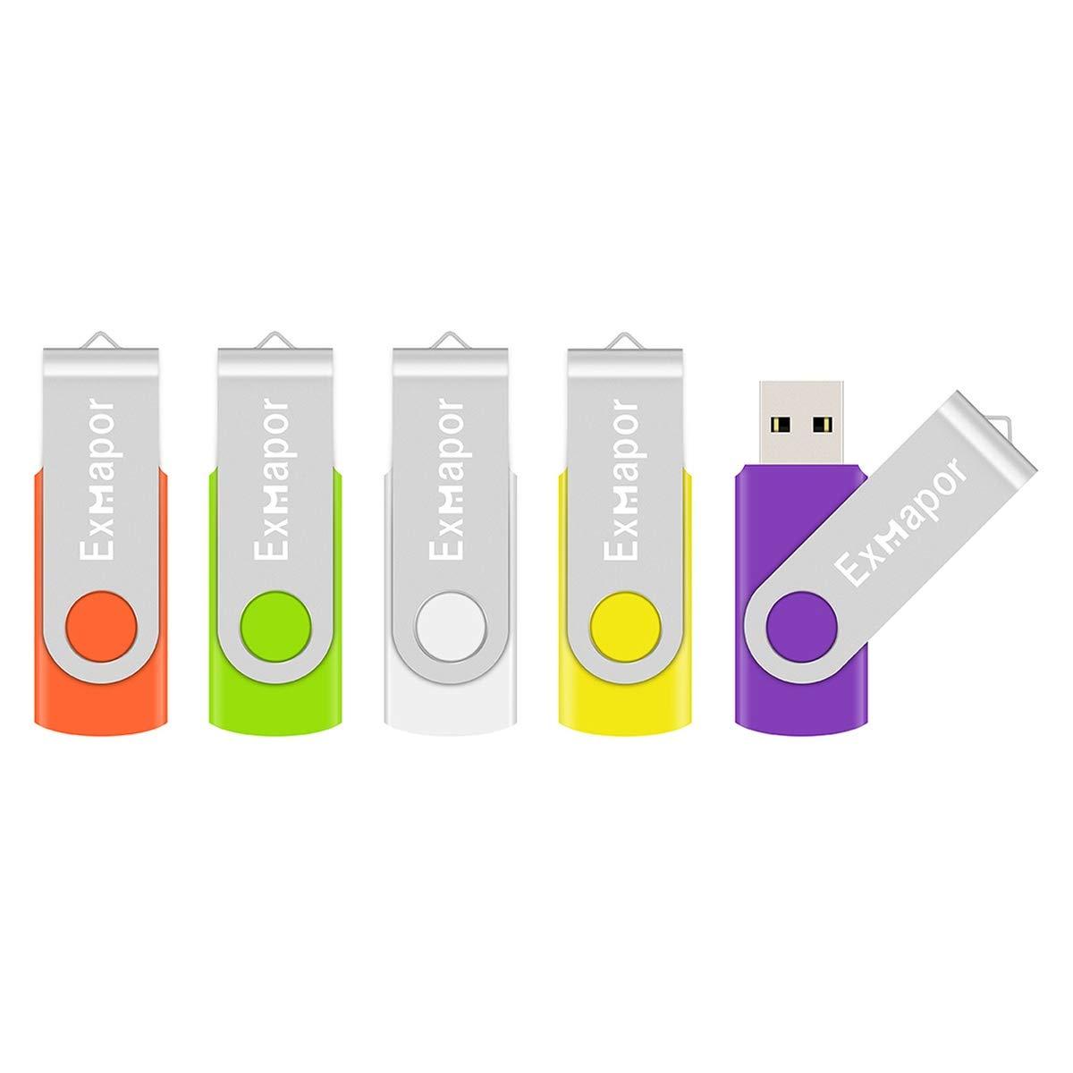5 X 32GB USB Flash Drive, Exmapor USB Swivel Thumb Drives Bulk Storage Memory Stick LED Indicator, Orange/Green/White/Yellow/Purple (5PCS Mix Color, 32GB)