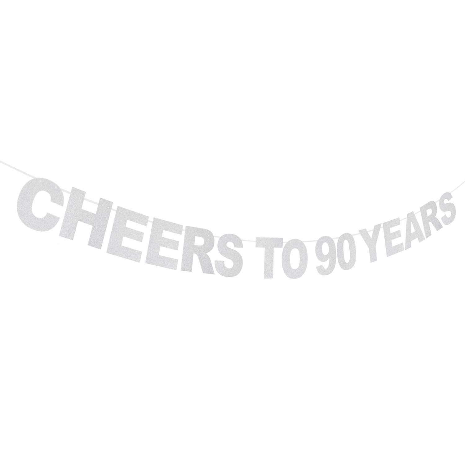 AERZETIX Cheers to 90 Years Silver Banner Happy 90th Birthday Ninety Years Old Anniversary Keepsake Party Decoration Sign for Men or Women