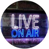 """ADVPRO On Air Live Recording Studio Video Room Dual Color LED Neon Sign White & Blue 24"""" x 16"""" st6s64-i3064-wb"""