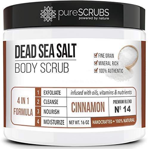 pureSCRUBS Premium Organic Body Scrub Set - Large 16oz CINNAMON BODY SCRUB - Dead Sea Salt Infused Organic Essential Oils & Nutrients + FREE Wooden Spoon, Loofah & Mini Organic Exfoliating Bar Soap