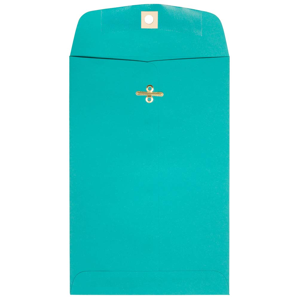 JAM PAPER 6 x 9 Open End Catalog Colored Envelopes with Clasp Closure - Sea Blue Recycled - 10/Pack