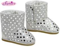 Doll Boots Silver Sequins, 18 Inch Doll Shoes Fits 18 Inch American Girl Dolls & More! Silver Sequin Gray Doll Boots