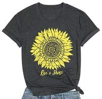 Sunflower Tshirts for Women Rise&Shine Letter Shirts Casual Vintage Short Sleeve Women Tees Tops Dark Grey