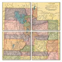 Utah Coaster of Vintage Map (Set of 4)