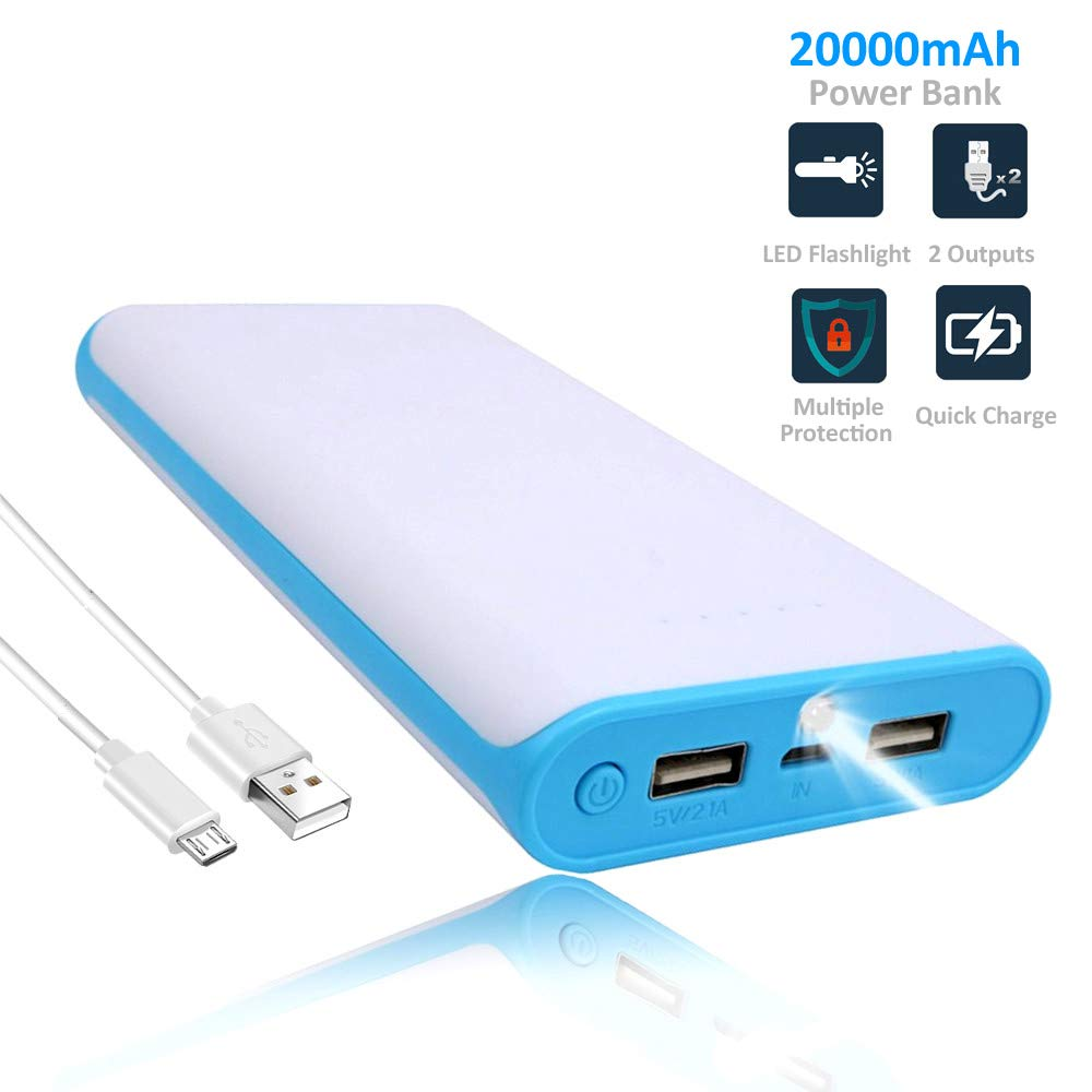 WENYAA Portable Charger Power Bank-20000mAh,Dual USB Port External Cell Phone Battery Pack with LED Light High-Speed Fast Recharging for iPhone, iPad & Samsung Galaxy & More (Blue+White)