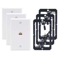VCE 3 Pack 1 Port Cat6 Female to Female Wall Plate with Single Gang Low Voltage Mounting Bracket UL Listed