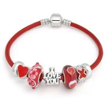 Heart Love Couples Relationship Valentine Themed European Bead Charms Bracelet Genuine Leather For Women Sterling Silver