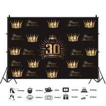 Baocicco 8x6.5ft 30th Happy Birthday Backdrop for Photography Golden Happy Birthday Backdrop Golden Crown Backdrop 30th Birthday Photography Background 30th Congratulations Backdrop Photo Booth Props