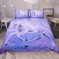 Sleepwish Purple Unicorn Bedding Dreamy Lavender Unicorn Duvet Cover Teen Fantasy Animal Art Bed Comforter Cover Set (Twin)