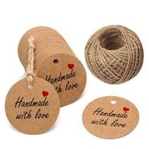 Handmade Gift Tags 2'' Round Tags 100PCS Brown Kraft Hang Tags with 100 Feet Natural Jute Twine Perfect for DIY&Craft, Wedding Party Favor and Birthday Party