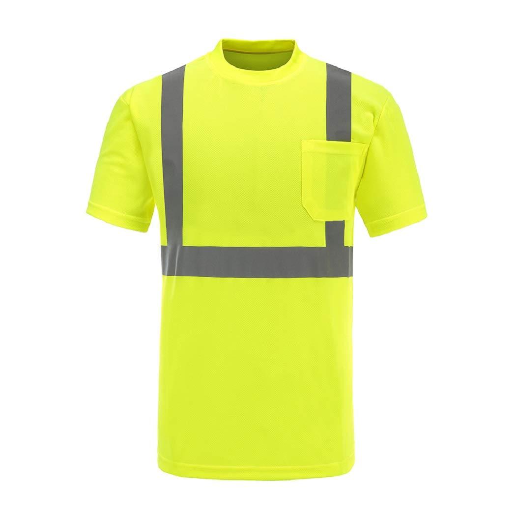 Hi Viz Tee, A-SAFETY, High Visibility Safety Running Short Sleeve Shirt Yellow, L