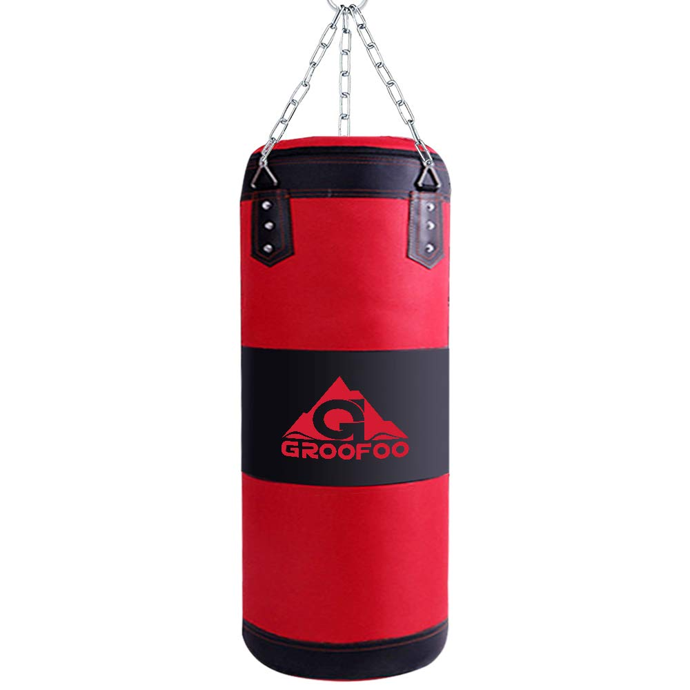GROOFOO Kids Boxing Bag for Punching Sparring, UNFILLED Oxford Punch Bag with Mount Set