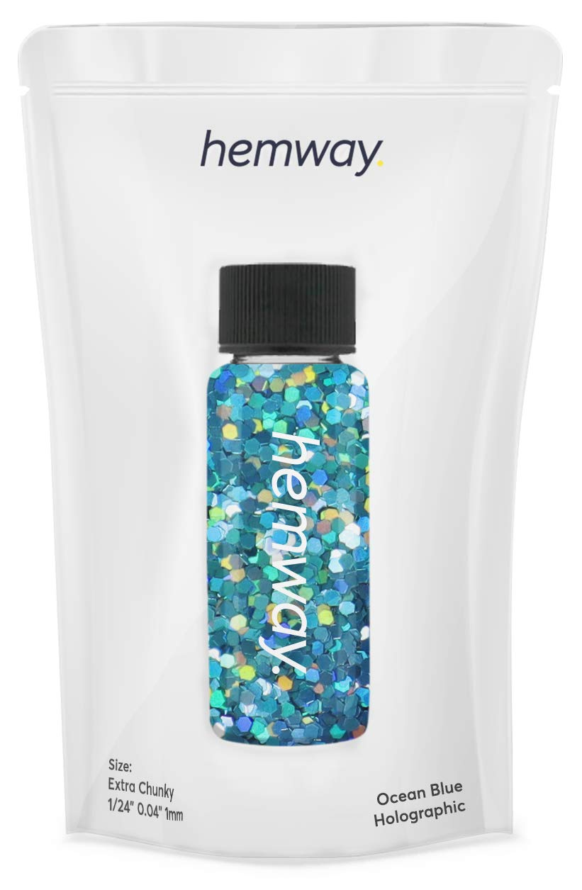 "Hemway Glitter Tube 12.8g / 0.45oz Extra Chunky 1/24"" 0.04"" 1MM Premium Sparkle Gel Nail Dust Art Powder Makeup Pigment Eyeshadow Face Body Eye Cosmetic Safe-(Ocean Blue Holographic)"