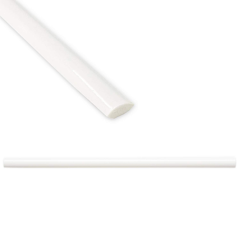 Quarter Round Tile Trim 1/2 x 12 inch Jolly Shower Ceramic Tile Edge Backsplash Liner Wall Molding - Polished Bright White (12 Pack)