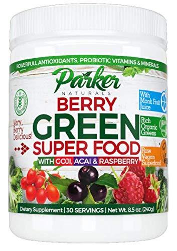 2 Pack Berry Green Superfood Powder with Organic Greens & Organic Fruits, Enzymes, Probiotics, Antioxidants, Vitamins, Minerals - Alkalize & Detox - Non GMO, Vegan & Gluten Free - 240 Grams... ... …