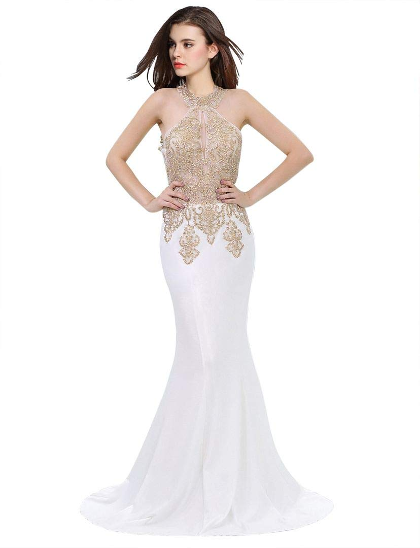 Erosebridal Womens Prom Dresses Long Lace High Neck Evening Gown Sexy Mermaid