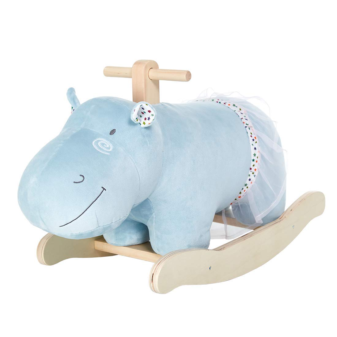 labebe Rocking Horse for Toddlers, Hippo Wooden Rocker for Baby Girl & Boy 1-3 Year Old