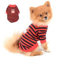 SELMAI Striped Dog Shirt Soft Cotton T Shirts for Small Medium Dogs Male Cute Cat Puppies Dachshund Tee Vest Short Sleeves Doggy Clothes Tank Tops Vest Cool Summer Beach Travel Daily Wear Red XL