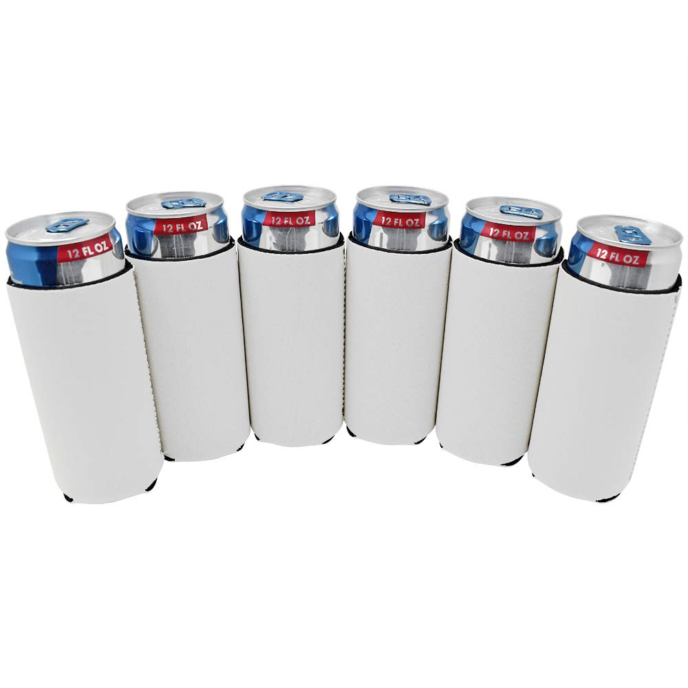 TahoeBay 6 Slim Can Sleeves - Blank Neoprene Beer Coolers – Compatible with 12oz RedBull, Michelob Ultra, White Claw Spiked Seltzer (White, 6)