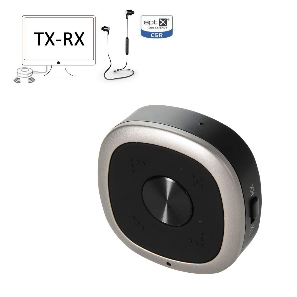 DYTesa APTX Low Latency Bluetooth TV Transmitter and Receiver, Bluetooth Splitter 3.5mm Wireless 4.1 Bluetooth APTX-HD Audio Adapter (Pair 2 at Once, 10 Hours Playtime, for TV/Car Sound System)