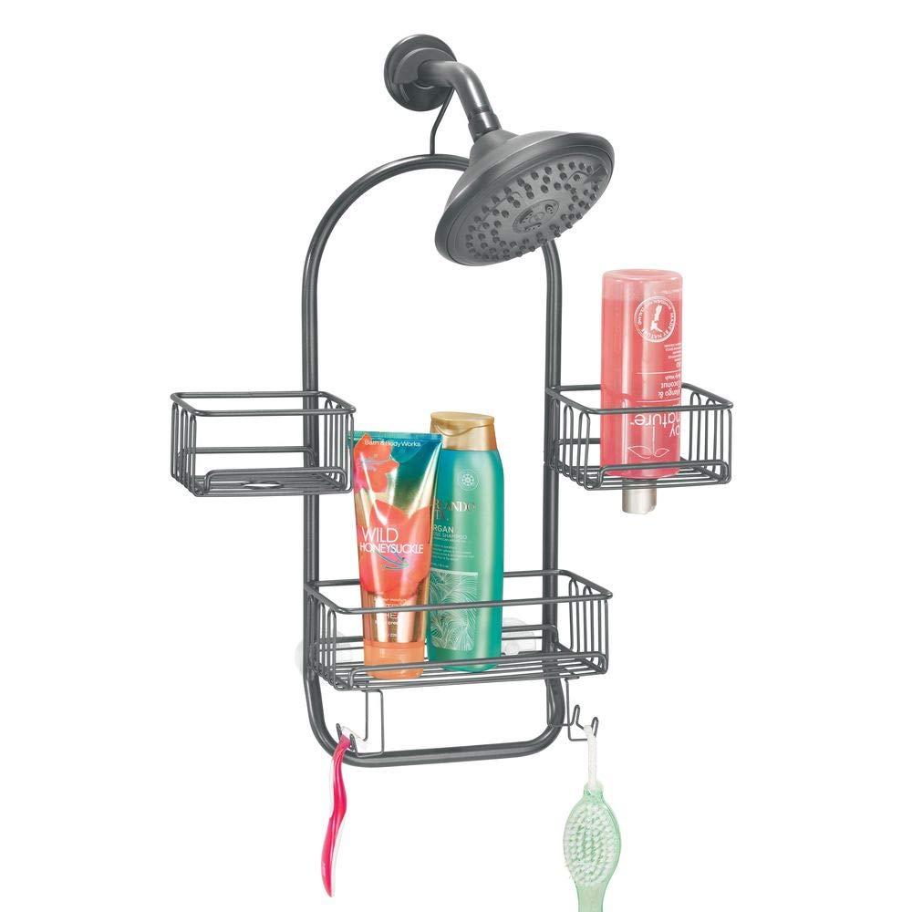 mDesign Modern Metal Wire Bathroom Tub & Shower Caddy, Hanging Storage Organizer Center - 2 Wash Cloth/Razor Hooks, 3 Baskets - for Bathroom Shower Stalls, Bathtubs - Rust Resistant - Graphite Gray
