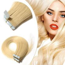 22 Inch 20pcs 30g /pack Tape in Hair Extensions Remy Human Hair 613 Bleach Blonde Light Color Long Straight Hair Seamless Skin Weft Invisible Double Sided Tape