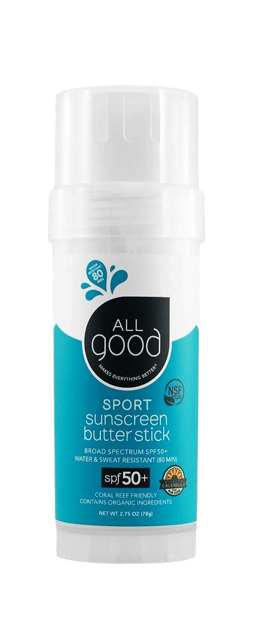 All Good Sports Butter Stick - Mineral Sunscreen for Face, Nose, Ears - Coral Reef Safe - Water Resistant - UVA/UVB Broad Spectrum - SPF 50 (2.75 oz)