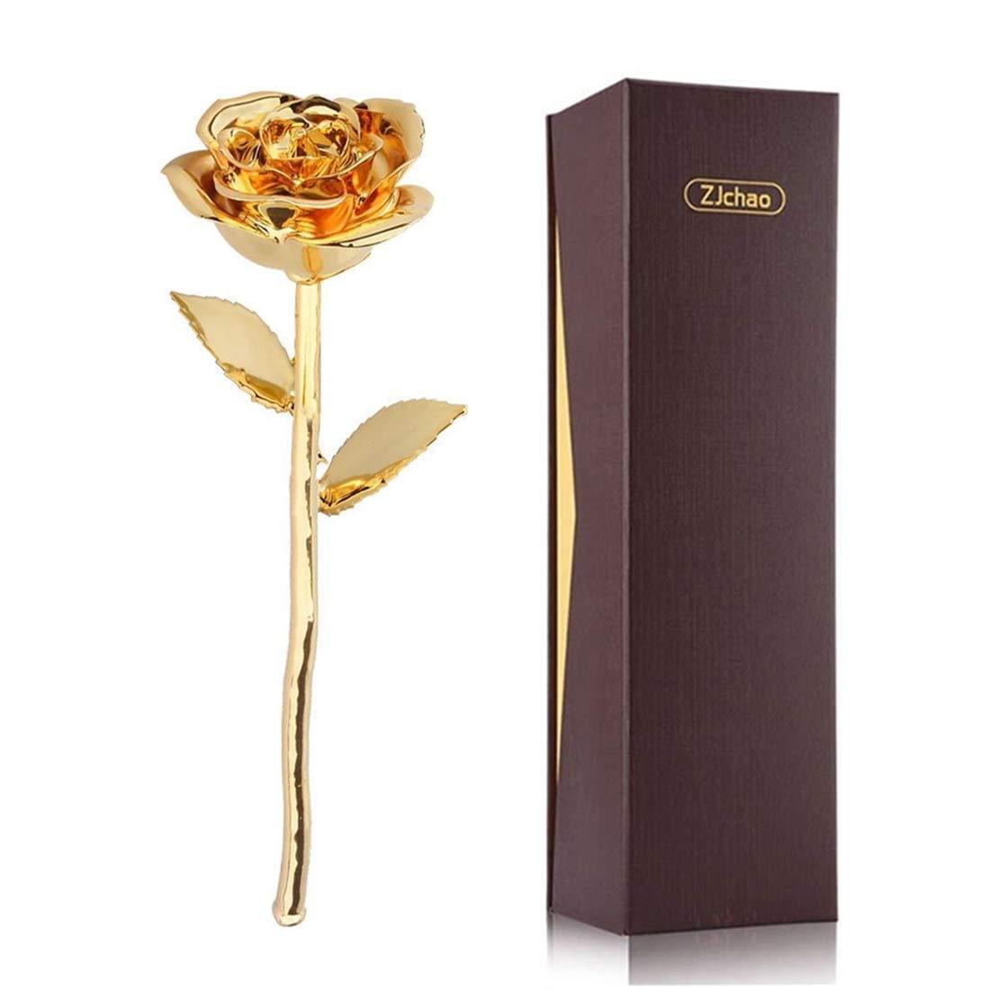 ZJchao 24K Gold Rose Gift for Her Mother's Day Anniversary Romantic Eternity Love Real Golden Plated Preserved Forever Rose Flower, Best Present for Wife/Mom/Grandma/Women (Gold)
