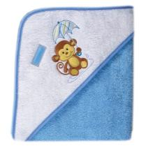 Luvable Friends Unisex Baby Cotton Hooded Towel, Blue, One Size