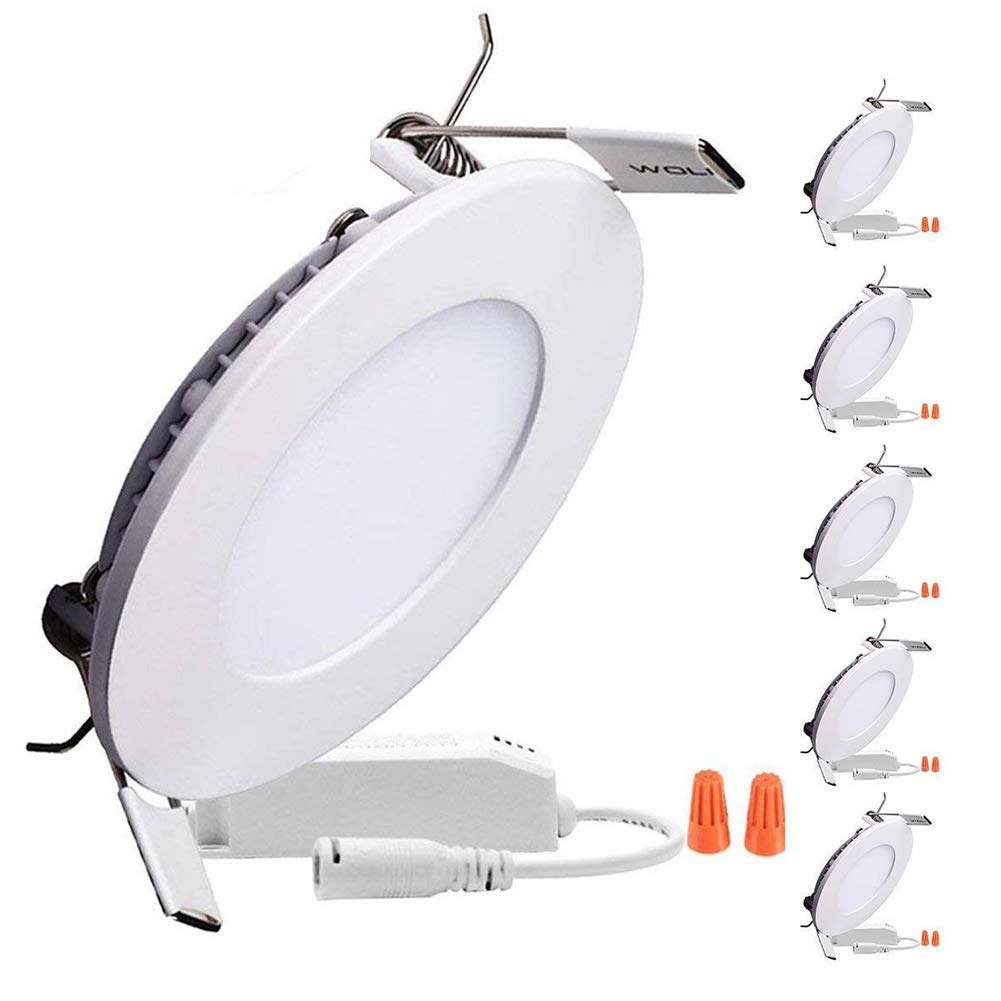 B-right Pack of 5 Units 12W 6-inch Dimmable Round LED Panel Light 960lm Ultra-Thin 3000K Warm White LED Recessed Ceiling Lights for Home Office Commercial Lighting