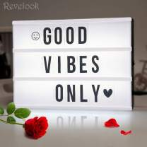 Light up Box Sign with Letters - A4 Size DIY Decorative Cinema Symbol, Fun Message Board for Girls Birthday Back to School College Dorm Room Decoration, Mothers Day Proposal Wedding Decor Gift