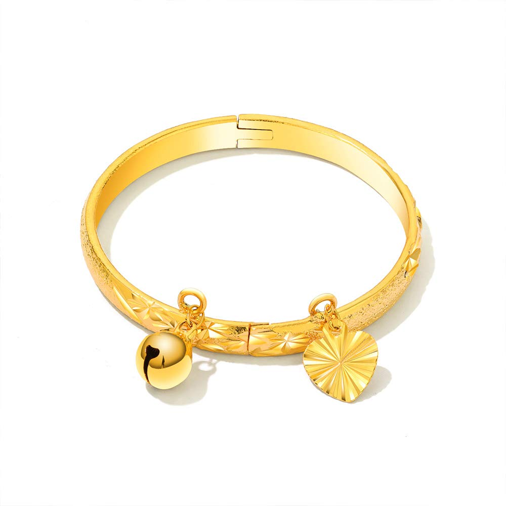 Oumart Gold Plated Cuff Bracelet for Kids – Gold Plated Bracelet for Your Children – Kids Gold Bracelet – Gold Baby Bracelet – Gold Bracelet for Babies