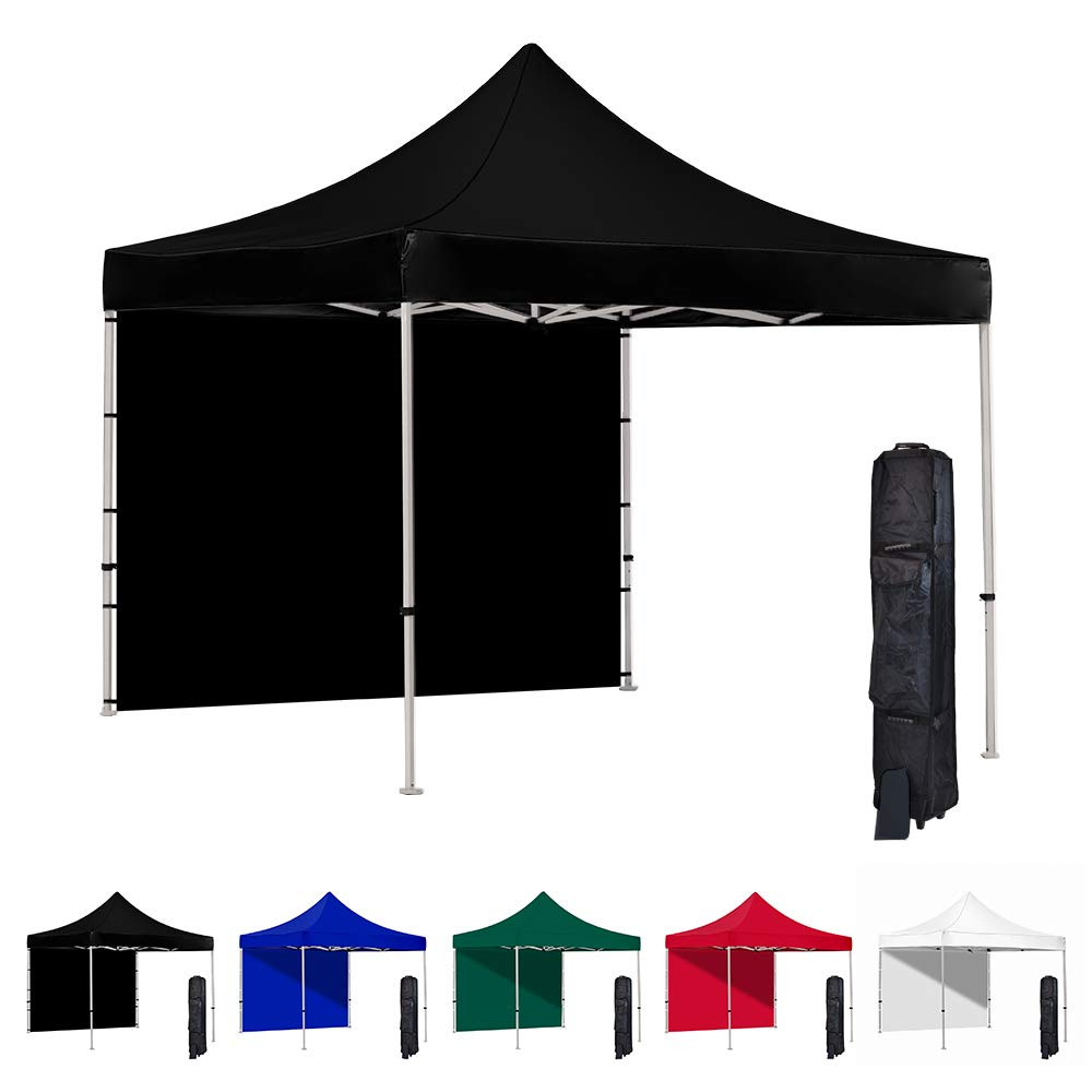 Vispronet 10x10 Pop Up Canopy Tent and Side Wall – Commercial Grade Steel Frame with Water-Resistant Canopy Top and Sidewall – Wheeled Canopy Bag and Stake Kit Included (Black)