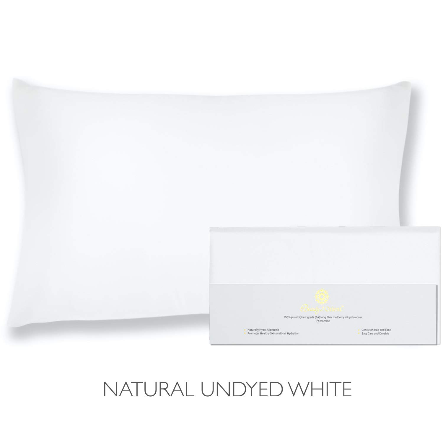 """Beauty of Orient - 100% Pure Mulberry Silk Pillowcase for Hair and Skin, 19 Momme Both Sides, Hidden Zipper, Natural Hypoallergenic Silk Pillow Case (1pc Queen - 20"""" x 30"""", Natural Undyed White)"""