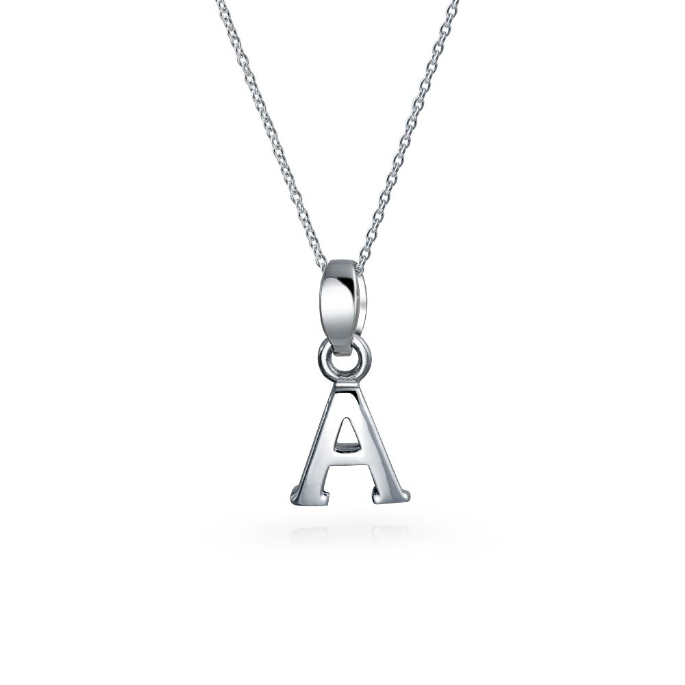 Abc Capital Block Letter Alphabet A-Z Initial Pendant Necklace For Teen For Women 925 Sterling Silver