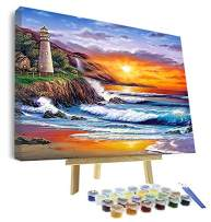 VIGEIYA DIY Paint by Numbers for Adults Include Framed Canvas and Wooden Easel with Brushes and Acrylic Pigment 16x20inch (Sunset)