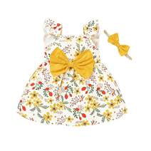 Toddler Kids Girl Dress Ruffle Sleeveless Fashion Floral Print Dresses Bowknot Princess Sundress (18-24 Months, Floral)