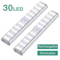 30 LED Motion Sensor Closet Light, Zora Dimmable 1500mAh USB Rechargeable Kitchen Lights Battery Operated, Wireless Portable Light, Under Cabinet Lights for Counter Stair Hallway 2pack…