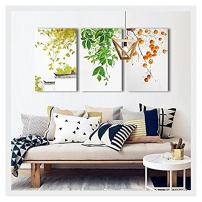 "wall26 - 3 Piece Canvas Wall Art - Leaves and Fruits - Chinese Style Watercolor Painting - 24""x36""x3 Panels"