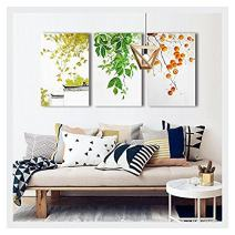"""wall26 - 3 Piece Canvas Wall Art - Leaves and Fruits - Chinese Style Watercolor Painting - 24""""x36""""x3 Panels"""