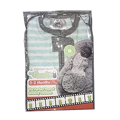 The Original Woombie Baby Swaddling Blanket I Soothing, Cotton Baby Swaddle I Wearable Baby Blanket, Minty Stripes, 5-13 lbs