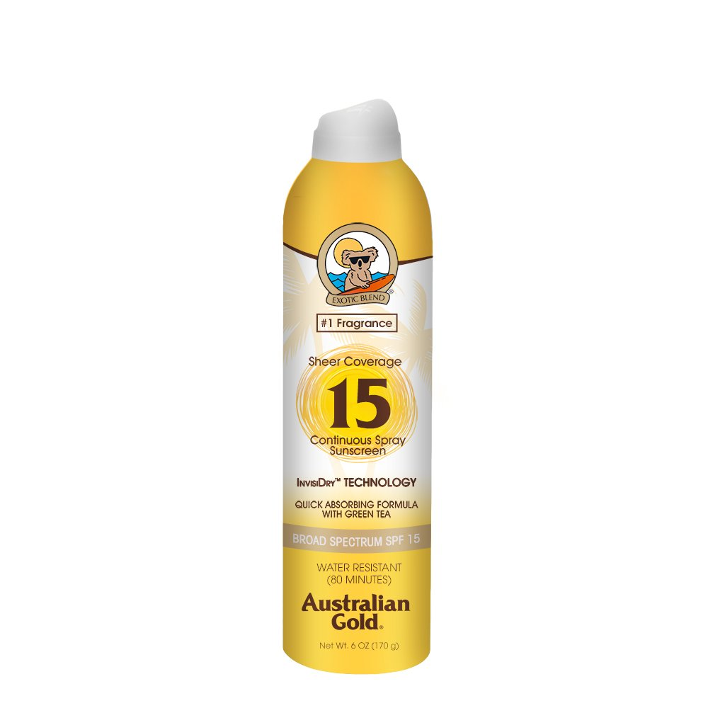 Australian Gold Sheer Coverage Continuous Spray Sunscreen SPF 15, 6 Ounce | Quick Absorbing Invisible Dry | Broad Spectrum | Water Resistant
